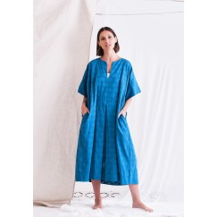 Blue Short Sleeves Dress