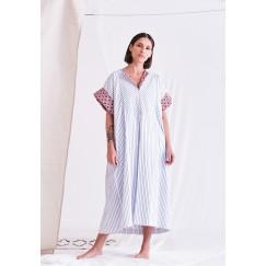 Blue & Maroon Striped Dress