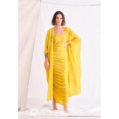 Yellow Bisht & Dress Set