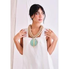 Katerina Vassou Turquoise with Gold Line