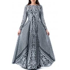 Black & Silver Tartar Long Gown