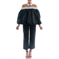 Black & White Organza Top