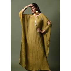 Mustard Cut-Out Sleeves Kaftan