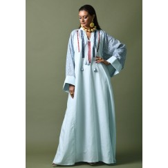 Blue Embroidered Patterned Sleeves Kaftan