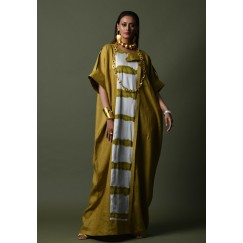 Yellow Patterned 3/4th Sleeves Kaftan