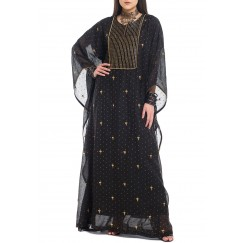Khazna Black Embroidered Kaftan