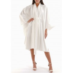 White Kimono Ruffled Midi Dress