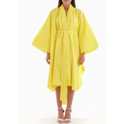 Yellow Kimono Belted Midi Dress