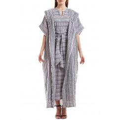 Grey & White Striped Bisht Set