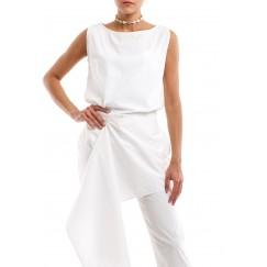 White Poplin Cotton Sleeveless Blouse