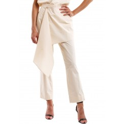 Light Beige Poplin Cotton Pants