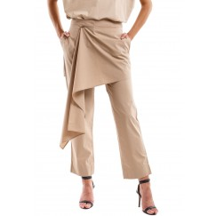 Beige Poplin Cotton Pants