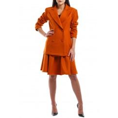 Orange Blazer & Ruffled Skirt Suit