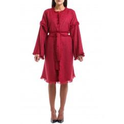 Red Raw Hems Ruffled Tweed Jacket