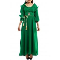 Elegant lady green crepe