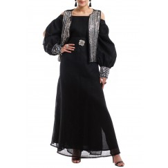 black kaftan with silver tartar vest