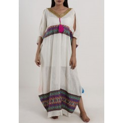 Beach kaftan With Pink Karkoosha