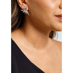 Silver-Tone Feather Glint Earrings