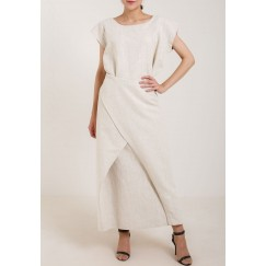 Wraped Linen Cutout Dress