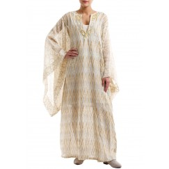 Butterfly sleeves patterned kaftan