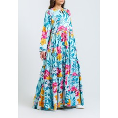 Blue Floral Pleated Kaftan