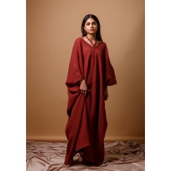 Maroon Braided Kaftan