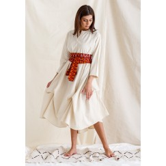 Pleated Kaftan with Orange Belt