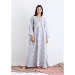 Blue Striped Embroidered Kaftan