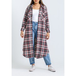 Trio Color Oversized Tweed Shirt