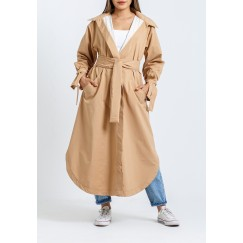 Beige Hooded Belted Trench Coat