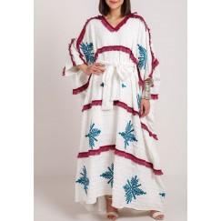White Tribal Embroidery Kaftan