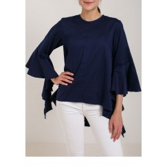 Navy Blue ruffle sleeve Shirt