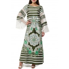 Green Floral Print Kaftan