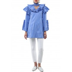 Blue Ruffled Choker Neck Shirt