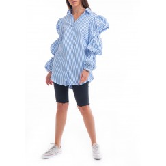 Blue Striped Bubble Sleeves Shirt