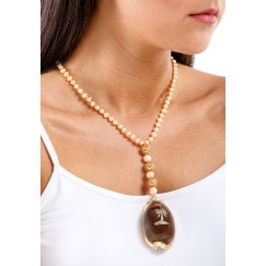 Hand Carved Shell with Pearls & Bronze Balls Necklace
