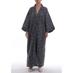 Geisha Black Floral Maxi Kimono