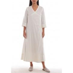 Fez Ivory Buttoned Side V-Neck Dress