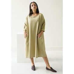 Winterberry Olive Box Shaped Midi dress