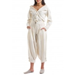Off-White Buttoned Blouse & Sherwal Pants Set
