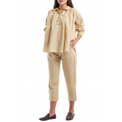 Beige Flowy Shirt With Midi Pants Set