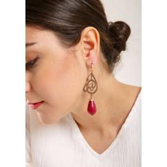 Dark red rose faceted jade