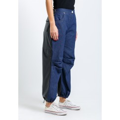 Dark blue mixed hybrid wide leg pants