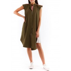 Olive pleats dress