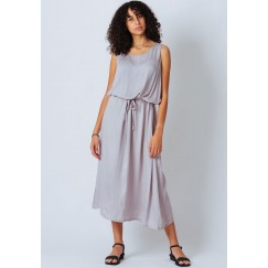 Grey Sleeveless Satin Dress