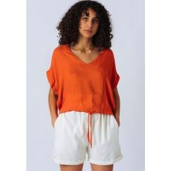 Orange Drawstring Top