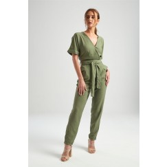 Green Wrap Short Sleeves Jumpsuit