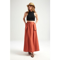 Orange Big Pockets Maxi Skirt