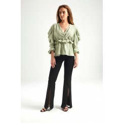 Green Puffed Sleeves Wrap Top
