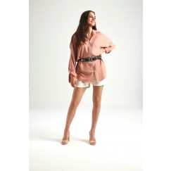 Blush Pink Zip Front Shirt